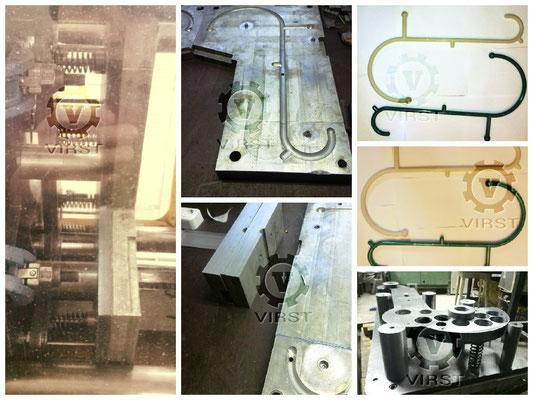 Массажер для спины. Материал изделия полиамид, вес 320 грамм. Матрица пресс-формы дюраль Д16Т. Пресс-форма обрезалась, для уменьшения длины изделия. После обрезки произвели стыковку формообращующих на дополнительных плитах.