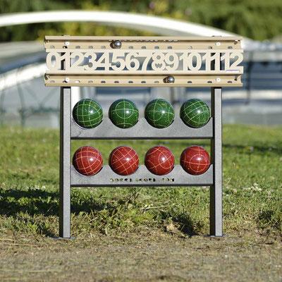 Bocce Scoreboard avec support pour boules de 107 mm