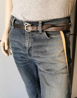 cintura in cuoio grigio