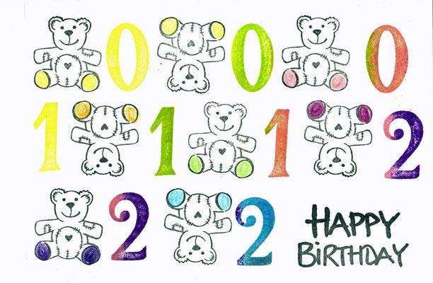 Happy Birthday mit Zahlen und Teddys