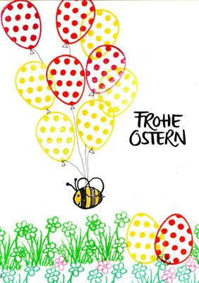 Stempel Ei/Luftballon, Kegel Biene und Gras mit Blumen, Frohe Ostern Stempel