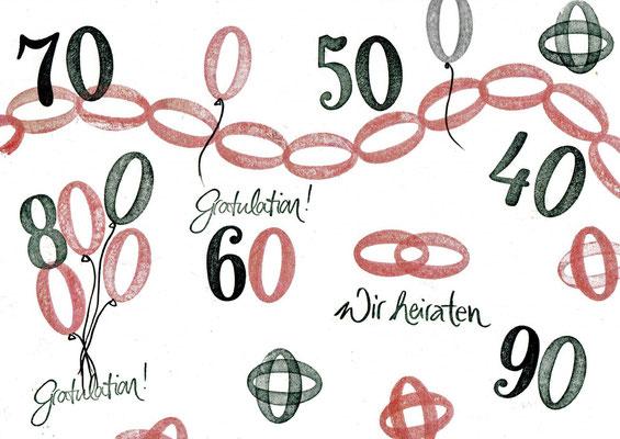 Jubiläum Zahlen, Null und viele Varianten dazu, Kette...Ringe