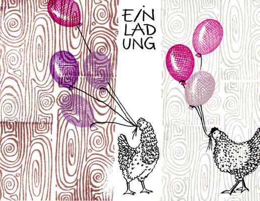 Hühner mit Luftballon Figurenkegel und Einlandung klein mit Holzmaserung