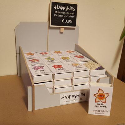 Verkaufsdisplay für alle 12 Happyhills Motivationsstempel Motive