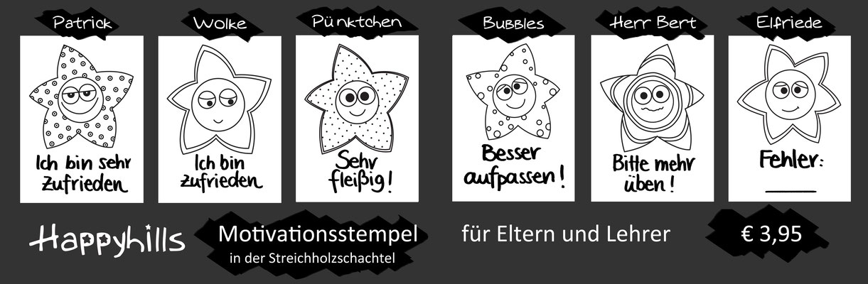 Stempelabdruck Flyer Motivationsstempel Happyhills