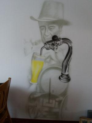 Biertap met western collage op de achtergrond