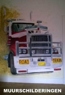 Muurschildering - bv Amerikaanse Truck  Tienerkamer