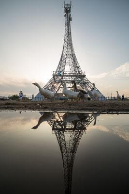 ungewohnte Besucher am Eiffelturm in Paris