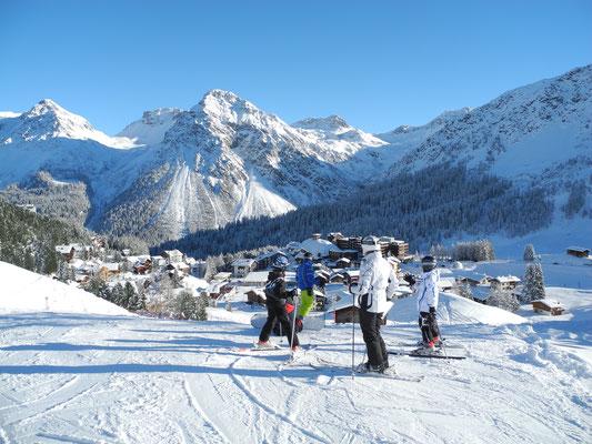 Gutes Skigebiet Graubünden schneesicher und Fahrt bis ins Dorf