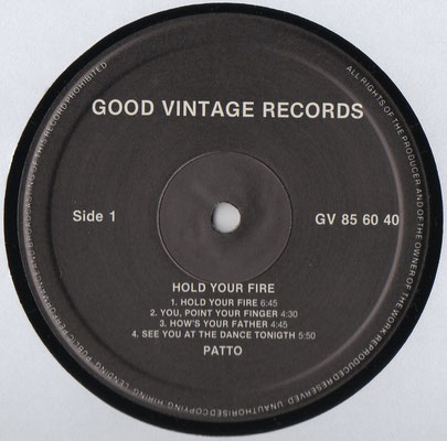 Good Vintage Records, GV 85 60 40, England, 1995