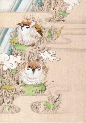 「雀」180mm×140mm 墨、和紙、水干絵具、アクリル