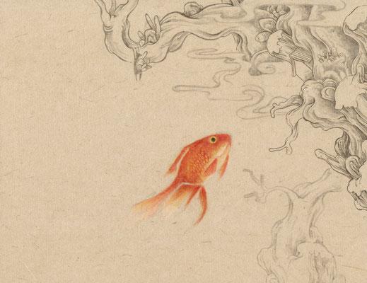 「金魚5」140mm×180mm 墨、和紙、水干絵具、アクリル