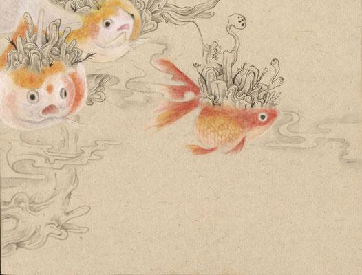 「金魚7」140mm×180mm 墨、和紙、水干絵具、アクリル