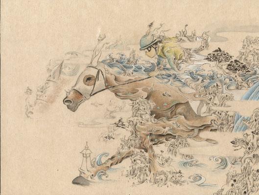 「馬」318mm×410mm 墨、和紙、水干絵具、アクリル