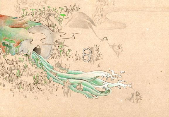 「川のカケラ」140mm×180mm 墨、和紙、水干絵具、アクリル