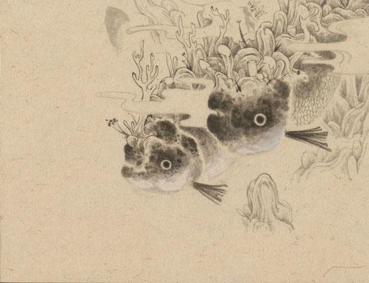 「金魚2」140mm×180mm 墨、和紙、水干絵具、アクリル