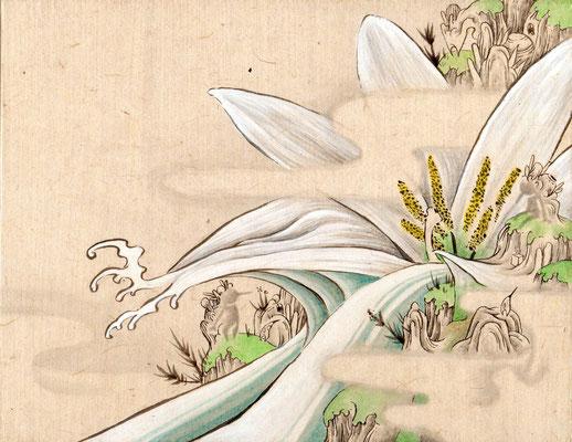 「タマスダレ」140mm×180mm 墨、和紙、水干絵具、アクリル