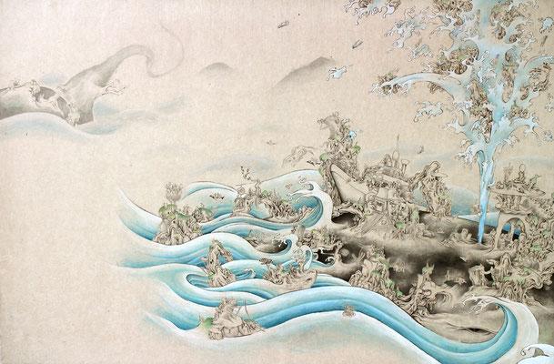 「京の魚」530mm×803mm 墨、和紙、水干絵具、アクリル