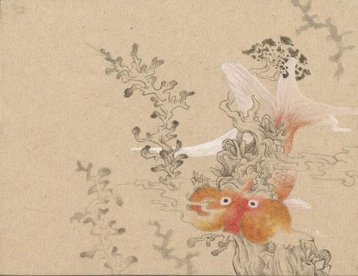 「金魚1」140mm×180mm 墨、和紙、水干絵具、アクリル
