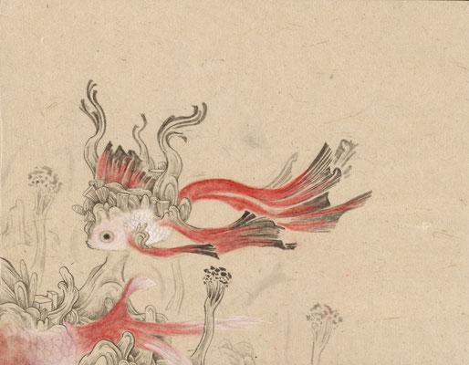 「金魚6」140mm×180mm 墨、和紙、水干絵具、アクリル