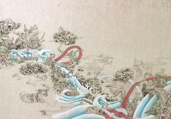 「祝」455mm×652mm 墨、和紙、水干絵具、アクリル