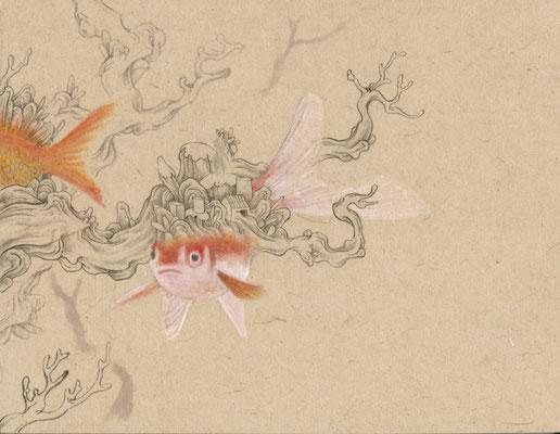 「金魚3」140mm×180mm 墨、和紙、水干絵具、アクリル