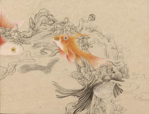 「金魚4」140mm×180mm 墨、和紙、水干絵具、アクリル