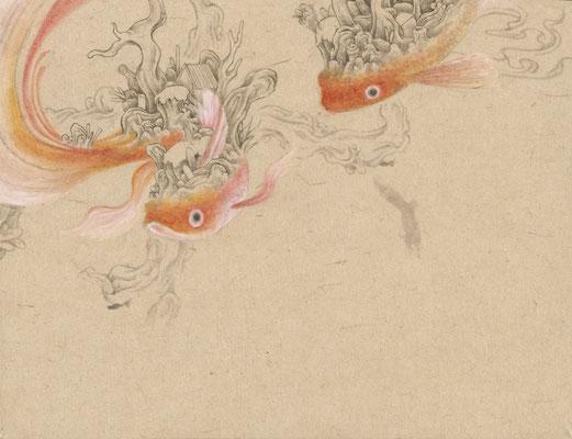 「金魚9」140mm×180mm 墨、和紙、水干絵具、アクリル