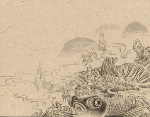 「金魚10」140mm×180mm 墨、和紙、水干絵具、アクリル