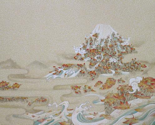 「赤山水」727mm×910mm 墨、和紙、水干絵具、アクリル