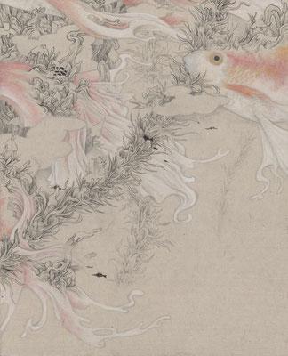 「道の隙間」227mm×158mm 墨、和紙、水干絵具、アクリル