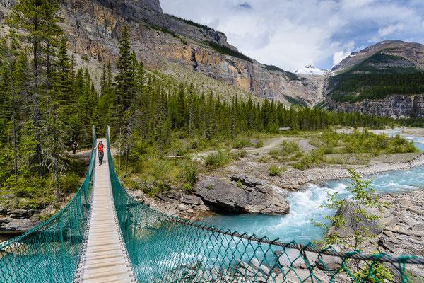 Erste Hängebrücke im Valley of 1000 falls