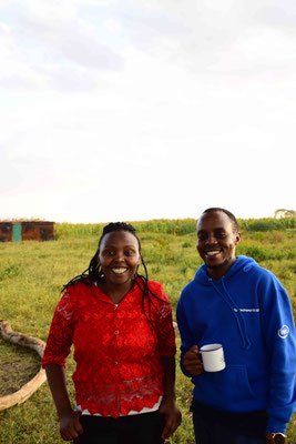Hellen and Reuben, my two main co-workers. Enjoying a cup of tea after a long field day in Suswa.