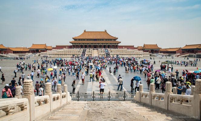 Menschenmenge in der Verbotenen Stadt in Peking