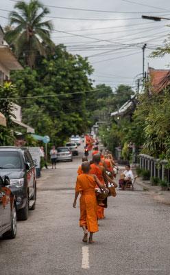 Mönche beim Almosengang in Luangprabang