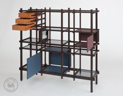 Raumteiler | Wenge, Kirschbaum, Linoleum, Glas, Stahl