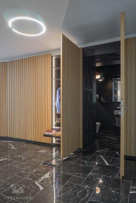 Eingangsbereich | Schrankwand mit Durchgangstüre | Herz & Hobel | Schreinerei München