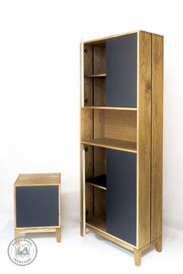 Aktenschrank, Anstellcontainer | Grifflos, Massivholz klassisch gezinkt