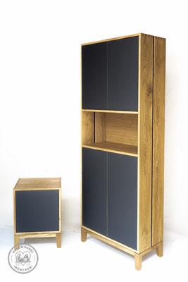 Aktenschrank, Anstellcontainer | Eiche massiv, geölt, Forbo Desktop Linoleum