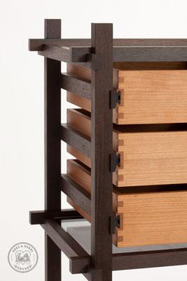 Raumteiler | Schubläden aus Kirschbaum Massivholz mit Fingerzinken