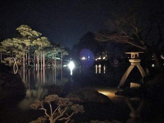 霞が池 ことじ灯籠と唐崎の松もライトアップ
