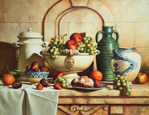 Speck, porcelaines et raisins