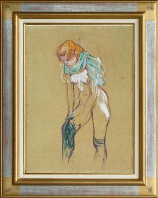 Toilouse Lautrec, femme enfilant son bas
