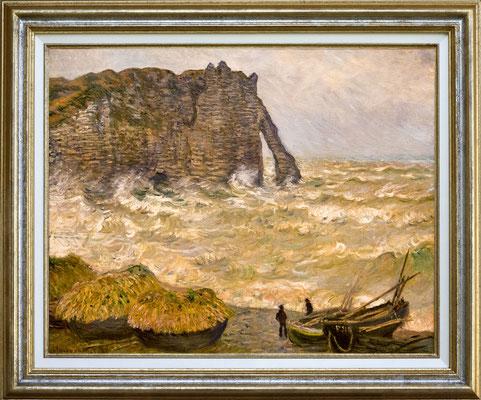 """Monet """"mer agitée à Etretat"""""""