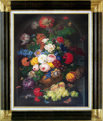 Drechler, fleurs et fruits dans une alcôve