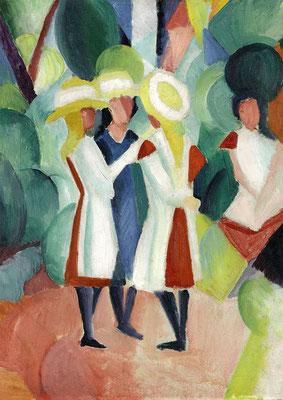 Macke, Three girls in yellow straw hats