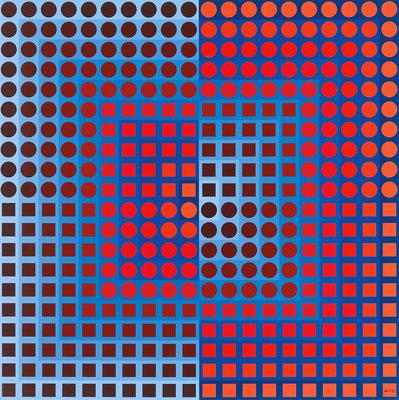Vasarely, zoeld bleu rouge