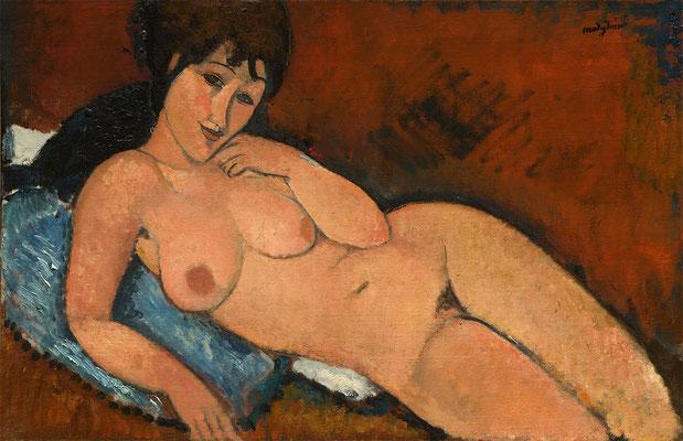 Modigliani, nu au coussin bleu