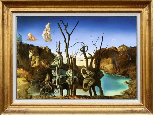 Dali, cygnes reflétants des éléphants