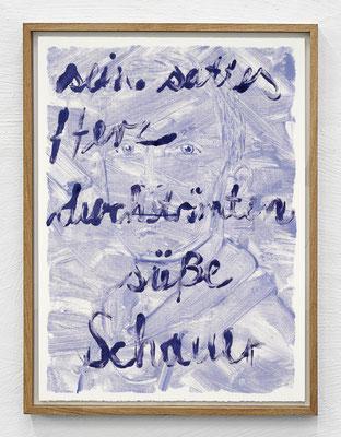"""""""Sein sattes Herz durchströmten süße Schauer."""" Monotypie, Ölfarbe auf Papier, 76 × 56 cm, 2017"""
